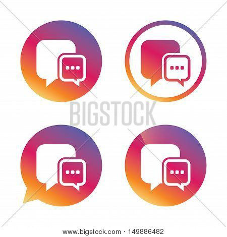 Chat sign icon. Speech bubble with three dots symbol. Communication chat bubble. Gradient buttons with flat icon. Speech bubble sign. Vector