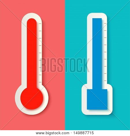 illustration of pair thermometers with shadows on colored background