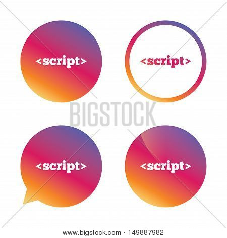 Script sign icon. Javascript code symbol. Gradient buttons with flat icon. Speech bubble sign. Vector