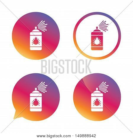 Bug disinfection sign icon. Fumigation symbol. Bug sprayer. Gradient buttons with flat icon. Speech bubble sign. Vector poster
