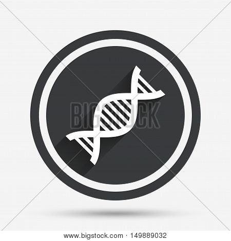 DNA sign icon. Deoxyribonucleic acid symbol. Circle flat button with shadow and border. Vector