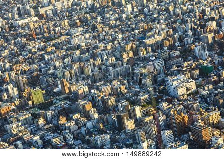Aerial view of houses over in Tokyo City, Japan, Asia