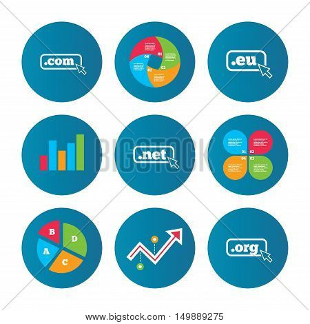 Business pie chart. Growth curve. Presentation buttons. Top-level internet domain icons. Com, Eu, Net and Org symbols with cursor pointer. Unique DNS names. Data analysis. Vector