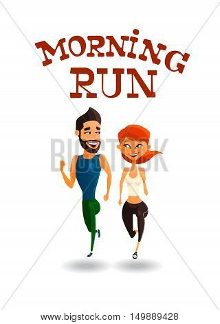 Illustration of a runners - couple running, health conscious concept. Sporty woman and man jogging. vector