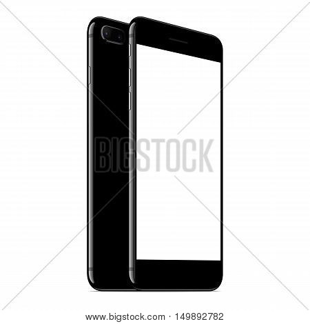 vector mock up phone front and back perspective view on white background new modern phone with dual camera