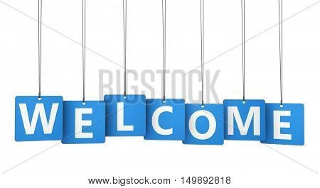 Welcome word and sign on blue paper tags isolated on white background 3D illustration.