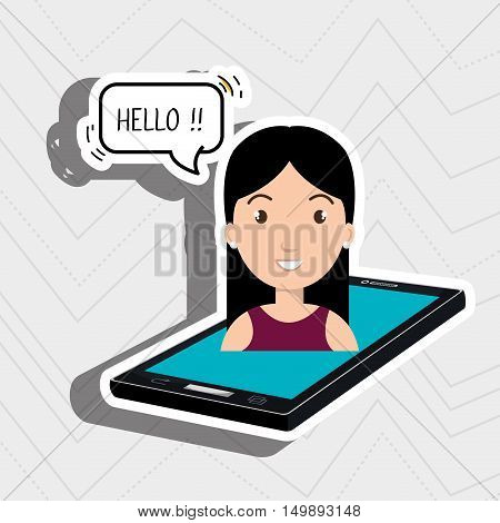 cellphone woman speech speak vector illustration eps 10