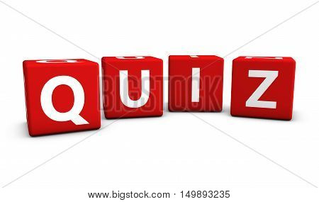 Quiz word and sign on red cubes 3D illustration on white background.