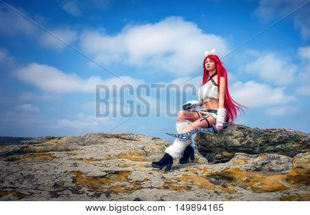 Beautiful female character with two swords sitting on a stone big stone. Fashion model girl cosplay character poster