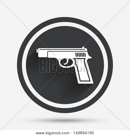 Gun sign icon. Firearms weapon symbol. Circle flat button with shadow and border. Vector