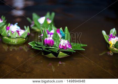 Loy Krathong festival in the Chao Phraya River, Wat Arun Bangkok Thailand