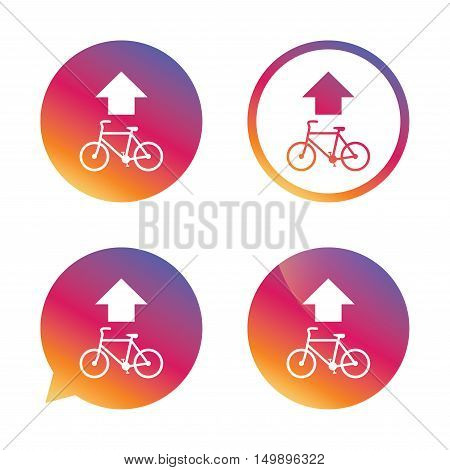 Bicycle path trail sign icon. Cycle path. Up straight arrow symbol. Gradient buttons with flat icon. Speech bubble sign. Vector