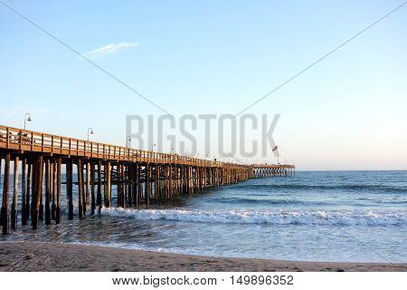Historic wooden pier in city of San Buena Ventura Southern California