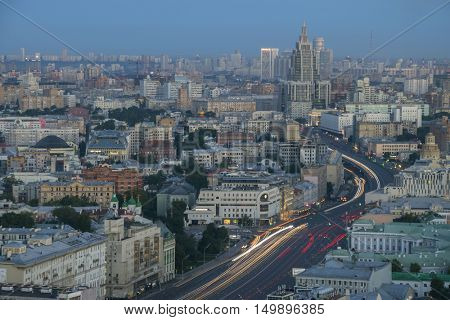 Residential buildings, roofs and Garden Ring road at summer morning in Moscow, Russia
