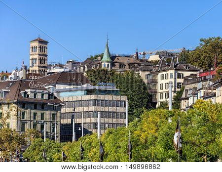 Zurich, Switzerland - 25 September, 2016: flags of the Zurich Film Festival and old town buildings. Zurich Film Festival is an annual film festival that takes place in Zurich at the end of September since 2005.