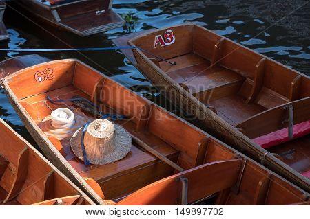 Damnoen Saduak floating market in Thailand. travel background.