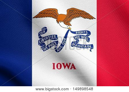 Iowan official flag symbol. American patriotic element. USA banner. United States of America background. Flag of the US state of Iowa waving in the wind with detailed fabric texture, illustration