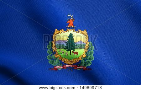 Vermonter official flag symbol. American patriotic element. USA banner. United States of America background. Flag of the US state of Vermont waving in the wind with detailed fabric texture, illustration