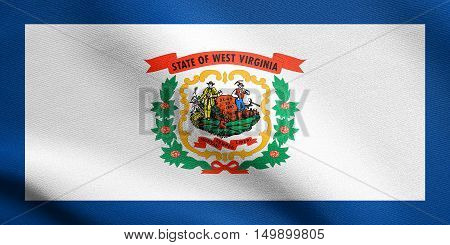 West Virginian official flag symbol. American patriotic element. USA banner. United States of America background. Flag of the US state of West Virginia waving in the wind with detailed fabric texture, illustration