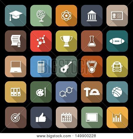 College flat icons with long shadow, stock vector