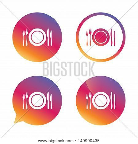 Plate dish with forks and knifes. Eat sign icon. Cutlery etiquette rules symbol. Gradient buttons with flat icon. Speech bubble sign. Vector