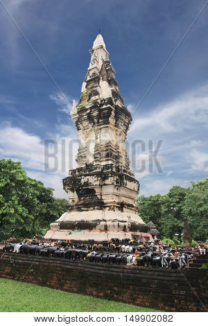 Thailand stupa in Yasothon province of landmarkTemple in archeology have local name is Wat Thung Sadaostupa name is (par tard kong kaw noi).