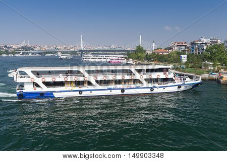 White Passenger Ferry In Istanbul