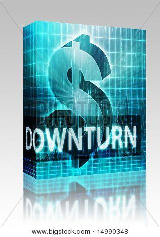 Software-Paket-Box Abschwung Finance Abbildung, Dollar-Symbol über finanzielle design