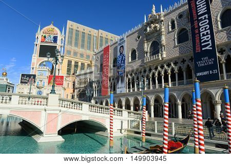 LAS VEGAS - DEC 26: Doge's Palace (Palazzo Ducale) of The Venetian on Las Vegas Strip on Dec 26, 2015 in Las Vegas, Nevada, USA. The Venetian resort complex is the second largest hotel in the world.