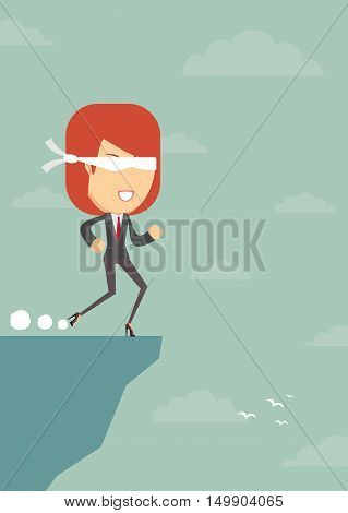 Open your eyes. Woman blindfolded runs steadily forward, not afraid to fall, vector illustration