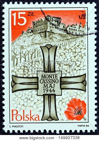 POLAND - CIRCA 1984: A stamp printed in Poland issued for the 40th anniversary of Battle of Monte Cassino shows Monte Cassino Memorial Cross and Monastery, circa 1984.
