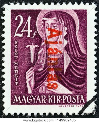 HUNGARY - CIRCA 1946: A stamp printed in Hungary shows St. Margaret, circa 1946.
