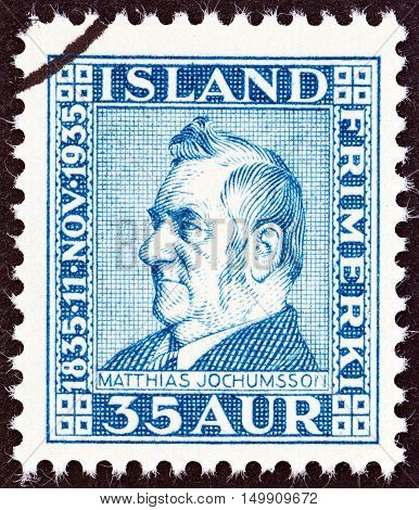 ICELAND - CIRCA 1935: A stamp printed in Iceland issued for the 100th anniversary of the birth of Matthias Jochumsson shows poet Matthias Jochumsson, circa 1935.