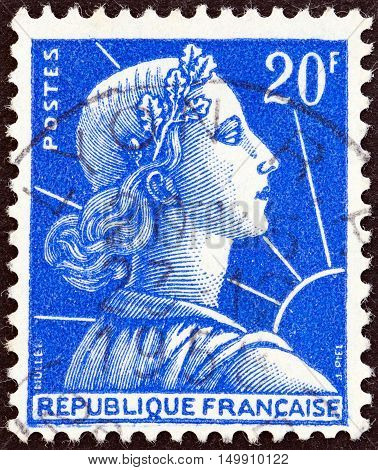 FRANCE - CIRCA 1955: A stamp printed in France shows Marianne (Louis-Charles Muller design), circa 1955.