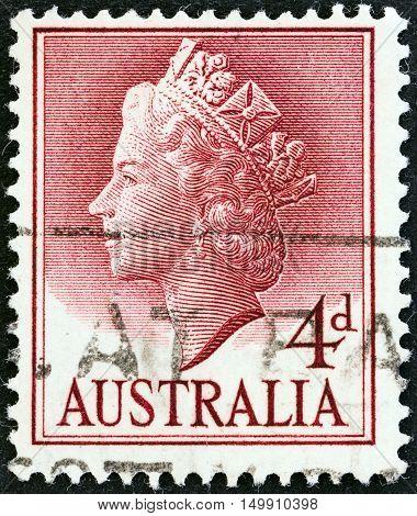 AUSTRALIA - CIRCA 1955: A stamp printed in Australia shows Queen Elizabeth II, circa 1955.