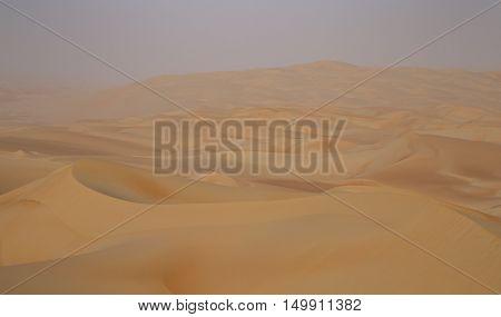 Massive sand dunes of the Emty Quarter desert covering large area in UAE KSA and Oman