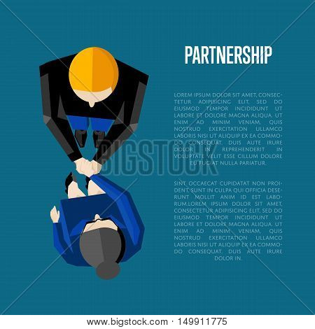 Appreciation banner, vector illustration. Top view of two business partners shaking hands isolated on blue background with space for text. Business people meeting. Collaboration and partnership.