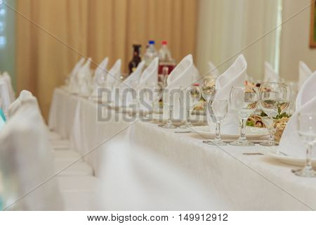 wedding table served. Selective focus. wedding day