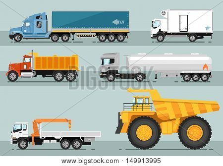 Different commercial truck. Lorry, freezer truck, tipper, road tanker, mounted crane, mining truck vector illustrations. Different type of truck. Motor vehicles for freight transportation. For transport company ad. Isolated vector truck. Detailed truck