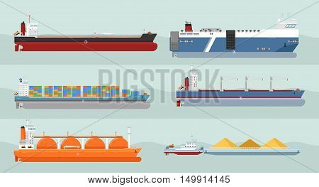 Set of cargo ships vectors. Flat design. Ferry, container ships, freighter, bulk, gas carriers, tugboat ships illustrations. Transatlantic carriage by merchant navy. For transport ships company ad, infographics. Isolated ships. Different type of ships.