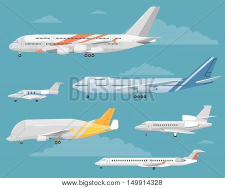 Modern types of aircraft. Airliners, personal jets, airplanes, cargo plane vector illustrations. Detailed airplanes illustration. Six airplanes modifications. Collection of reactive passenger and airfreighter plane. For irline ad. Different airplanes type