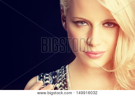 Face of a beautiful blond woman