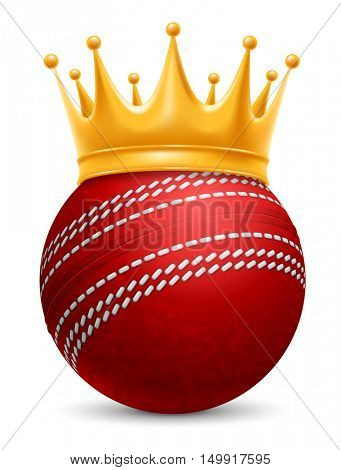 Cricket Ball in Golden Royal Crown. Concept of success in cricket sport. Cricket - king of sport. Realistic Stock Vector Illustration. Isolated on White Background.