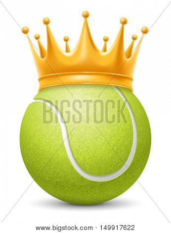Tennis Ball in Golden Royal Crown. Concept of success in tennis sport. Tennis - king of sport. Realistic Stock Vector Illustration. Isolated on White Background.