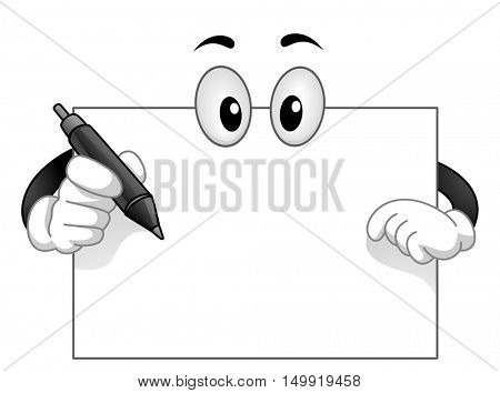 Mascot Illustration of a Blank White Board with Googly Eyes Holding a Pen