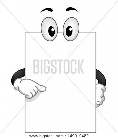 Mascot Illustration of a Blank White Board with Googly Eyes Pointing to Itself