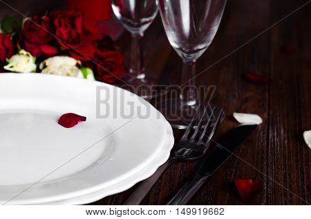 Romantic Candle Light Valentine Table Setting