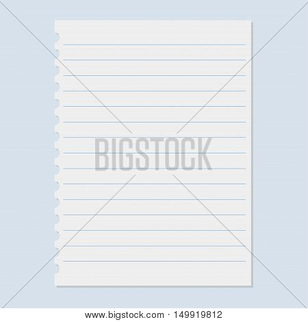 School notebook paper. Notebook paper sheet. Vector illustration