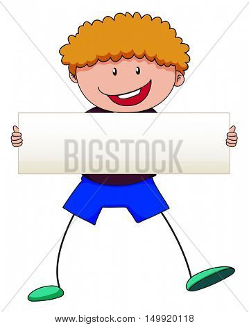 Boy with curly hair holding white sign illustration