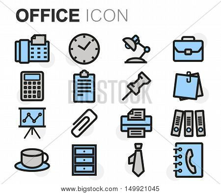 Vector flat line office icons set on white background